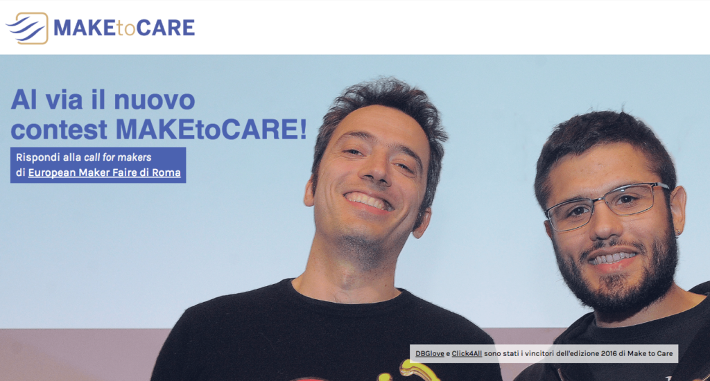 Candidati al nuovo contest Make to Care > www.maketocare.it